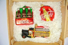 Kurt Adler Polonaise Ornament Coca Cola (Set of 3) Bottles, Logo, Delive... - $95.99
