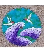 Saw Blade Metal Art HAND PAINTED purple lilac humming birds blue green 7... - $33.66