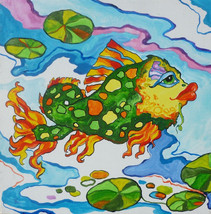 "Akimova: FISH , acrylic,  blue, cartoon, fantasy, 12""x12"" - $21.00"