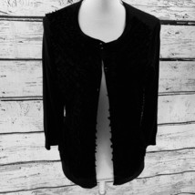 Talbots Women's Sweater Black Cardigan 3/4 Sleeve Front Decorations Large - $16.82
