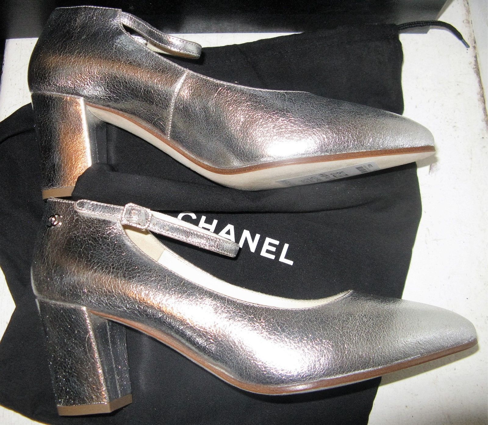 6d9ecb4b6d17 Chanel 16S G32050 Silver Mary Jane Pumps with strap black heel shoes 37.5