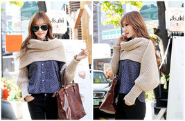 "96"" Long Solid Color Knit Sleeve Winter Scarf Shawl Crochet Warm Dual Pu... - $15.45"