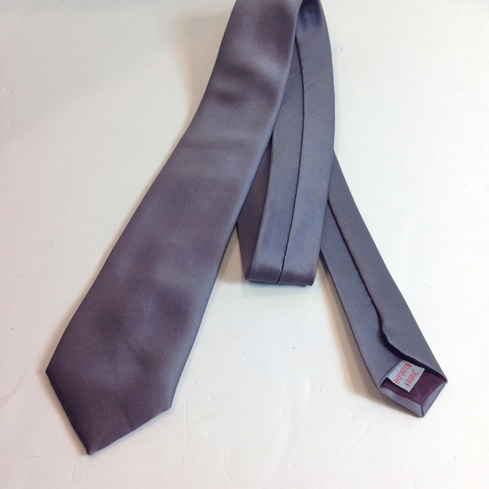 Primary image for Mark of California Imported Fabric 100% Polyester Silver Necktie Tie