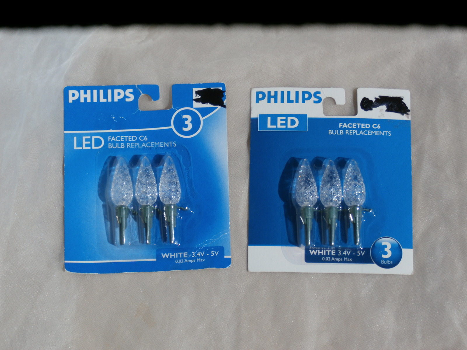 2 packages of 3 clear faceted c6 led bulb replacements christmas lights philips