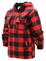 Men's Heavyweight Flannel Zip Up Fleece Lined Plaid Sherpa Hood Jacket w/Defect