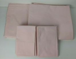 Vtg Wamsutta Solid Pink Ultracale 2 Double Flat Sheets & 2 Standard Pill... - $17.82