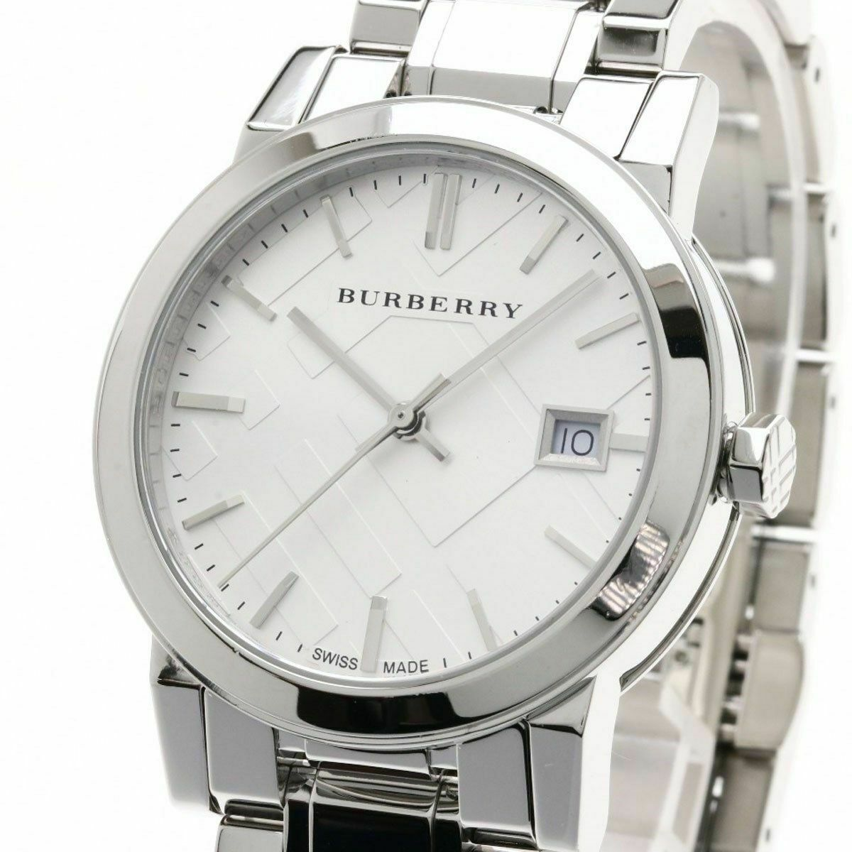 Burberry BU9100 Large Check Silver Swiss Made Womens Watch