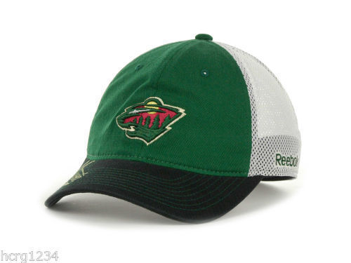 ed70c56298b Minnesota Wild Reebok NHL Center Ice Mesh Back Hockey Cap Hat S M - L