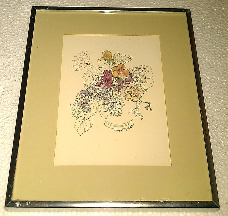 "1975 Mary Lou Goertzen ""Mother's Day bouquet"" litho portal pub. print 75WF0014"