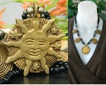 Vintage brass happy sun face stars beaded black necklace spirals thumb155 crop
