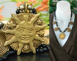 Vintage Brass Happy Sun Face Stars Beaded Black Necklace Spirals  - $24.95