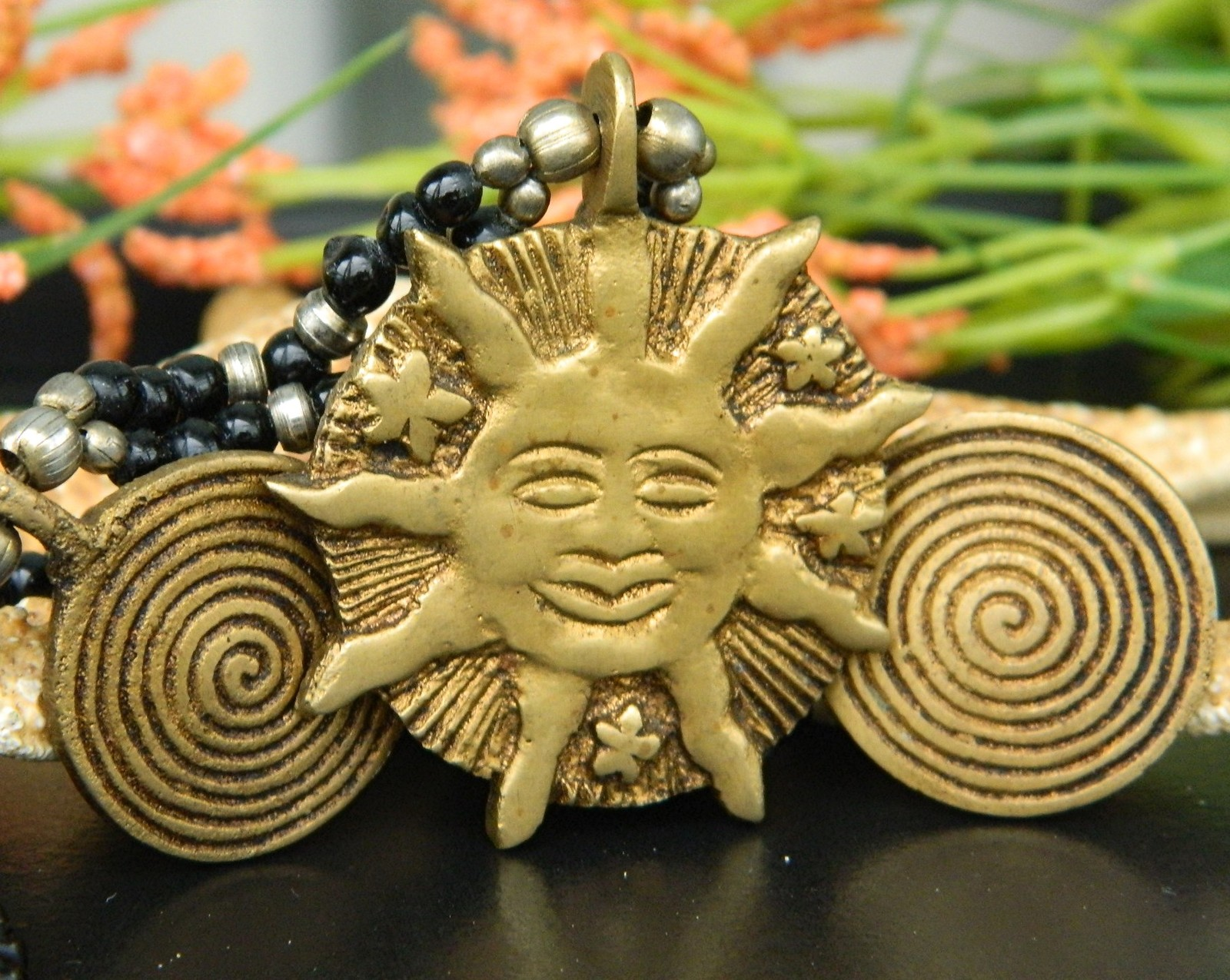 Vintage Brass Happy Sun Face Stars Beaded Black Necklace Spirals
