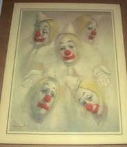 1976 BARRY LEIGHTON JONES 5 CIRCUS CLOWN FACES PRINT - $386.99