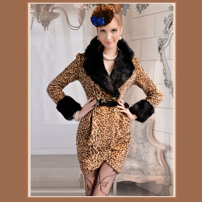 Fashion Wool Leopard Slim Trench Coat Large Collar and Sleeves Trimmed Faux Fur