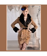 Fashion Wool Leopard Slim Trench Coat Large Collar and Sleeves Trimmed Faux Fur  - £134.49 GBP