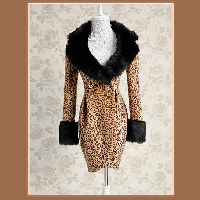 Fashion Wool Leopard Slim Trench Coat Large Collar and Sleeves Trimmed Faux Fur  image 2