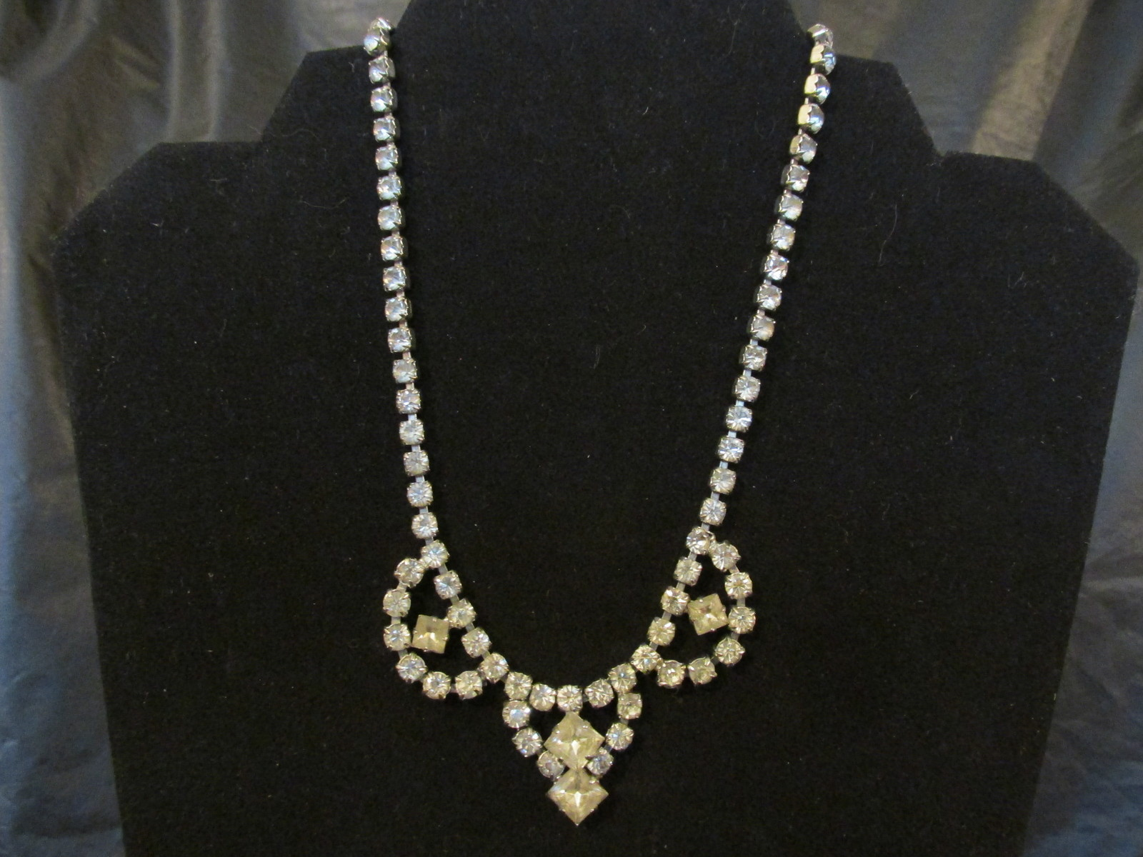 Vintage Clear Prong Set Rhinestone Swag Necklace - 1940s / 1950s