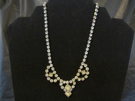Vintage Clear Prong Set Rhinestone Swag Necklace - 1940s / 1950s  - $17.99