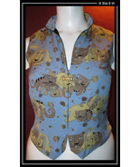 CACHE SILK VEST - Cats and Dogs Design - Size Medium - UNIQUE - $125.00