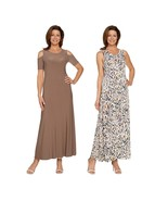 Attitudes Renee Solid Printed Set 2 Maxi Dresses Stone Animal XXS NEW A2... - $48.49