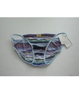 Rene Rofe Silky Multi Color Blues Stripe String Bikini Size 6 - $4.99