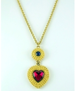 Signed Trifari dangling heart pendant necklace gold tone rolo chain  - $30.00
