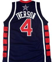 Allen Iverson #4 Team USA Basketball Jersey Navy Blue Any Size image 2