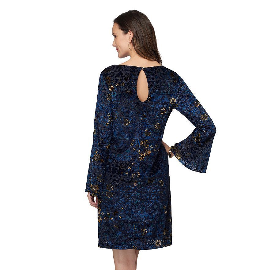 New Beige By Eci Women Velvet Shift Dress Blue Size L