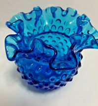 "Fenton Dark Sky Blue  Ruffled  Hobnail 4"" tall Art Glass Vase  - $40.95"