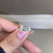 14K Yellow Gold GP 0.9 Carat Round Cut Moissanite 4mm*3pieces Engagement... - $123.49