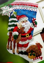 Bucilla Nordic Santa Christmas Eve Deer Forest Holiday Felt Stocking Kit... - $37.95