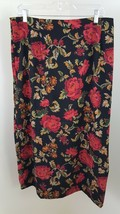 RL Richard NY 16 Red Rose Floral A-Line Skirt Mid-calf Back Split with Spandex - $8.79