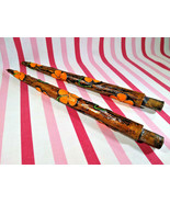 Fantastic Mid Century Modern Faux Wood MoD Flower Decorative Taper Candles - $20.00