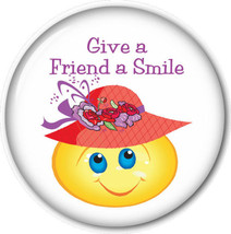 "PURSE MIRROR W/ ORGANZA BAG RED HAT LADIES ART ""GIVE A FREIND A SMILE"" 3... - $7.91"