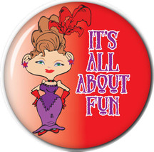 "PURSE MIRROR W/ ORGANZA BAG RED HAT LADIES ARTWORK ""IT'S ALL ABOUT FUN"" ... - $7.91"
