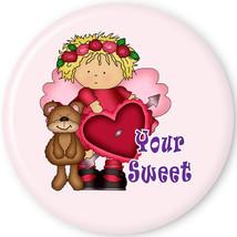 """VALENTINE PURSE MIRROR W/ ORGANZA BAG RED HAT LADIES ART """"YOUR SWEET"""" 3 ... - $7.19"""