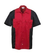 Dickies work shirt 3xl short sleeve black red two tone size 3xl style ws513 - $21.99