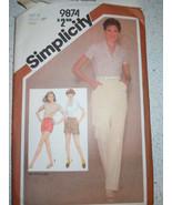 Simplicity Miss 14 Pants & Shorts Three Lengths # 9874  1980 - $4.99
