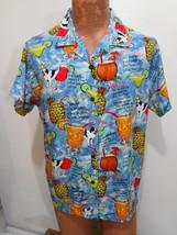 Big Dogs Tropical Drinks Cocktails Blue Hawaiian Short Sleeve Rayon Shir... - $29.16