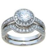 2.50 CT HALO CUBIC ZIRCONIA MATCHING WEDDING BA... - $46.99