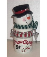 Snowman Candy or Cookie Jar, Coyne's & Co. Snow Candy 5¢ Christmas Winte... - $17.77