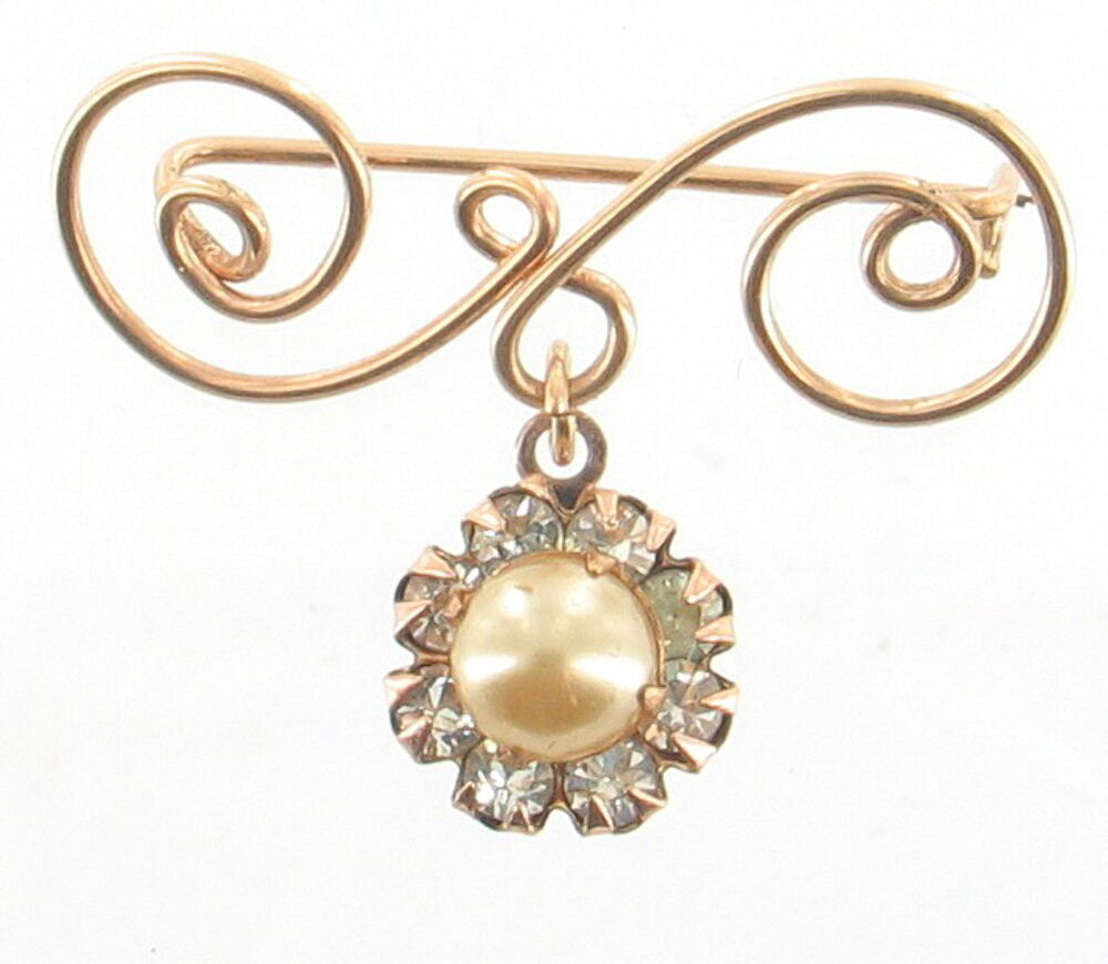 Primary image for VINTAGE 1940'S SWEET SCROLLED GOLD TONE PEARL RHINESTONE DROP PIN