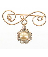 VINTAGE 1940'S SWEET SCROLLED GOLD TONE PEARL RHINESTONE DROP PIN - $48.59