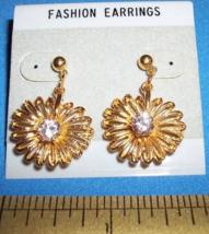 Fashion Gift Girl Accessory Set Gold Flower Gem Dangle Post Earrings Jewelry New - $6.64
