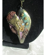 "Polymer Clay Steampunk ""broken"" Heart with gear - $35.00"