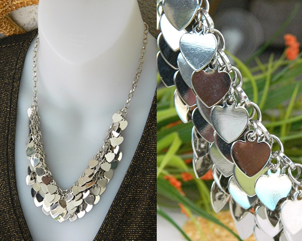 Vintage multiple hearts bib necklace layered silver collar