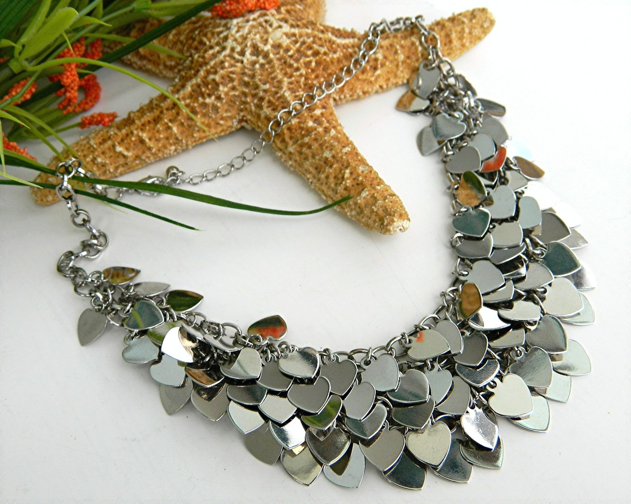 Vintage Multiple Hearts Bib Necklace Layered Silver Chain