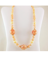 Vintage 1960s chunky lucite marbled bead necklace peach pink white retro... - $30.00