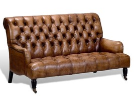 Artsome English Vintage Style Antique Brown  Tufted Leather Sofa - $3,757.05