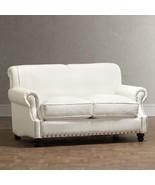 CHIC SHABBY FRENCH STYLE WHITE TWILL NAILHEAD TRIM SOFA,57'' W X 43''D X... - $2,173.05